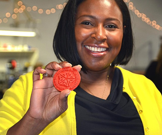 Mayor Lovely Warren with 3D Printed Logo